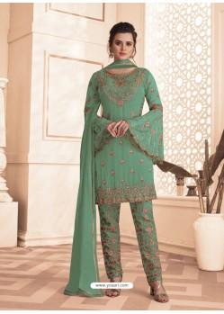 Aqua Mint Designer Embroidered Faux Georgette Pant Style Suit