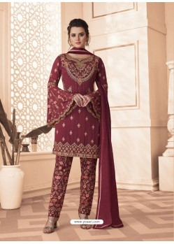 Maroon Designer Embroidered Faux Georgette Pant Style Suit