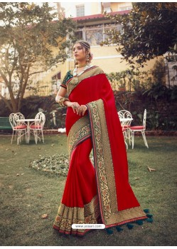 Red Stylish Party Wear Embroidered Designer Wedding Sari