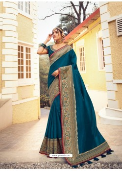 Dark Blue Stylish Party Wear Embroidered Designer Wedding Sari