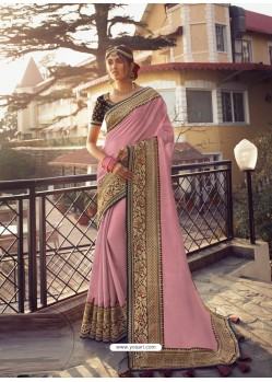 Pink Stylish Party Wear Embroidered Designer Wedding Sari