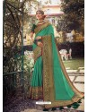 Aqua Mint Stylish Party Wear Embroidered Designer Wedding Sari