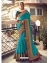 Turquoise Stylish Party Wear Embroidered Designer Wedding Sari
