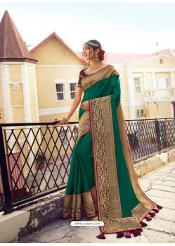 Dark Green Stylish Party Wear Embroidered Designer Wedding Sari