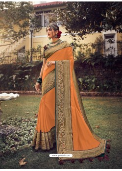 Orange Stylish Party Wear Embroidered Designer Wedding Sari