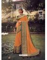 Orange Stylish Party Wear Embroidered Designer Wedding Sari