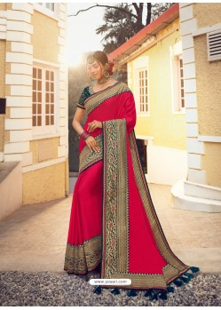 Dark Peach Stylish Party Wear Embroidered Designer Wedding Sari