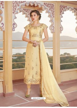 Cream Latest Heavy Designer Party Wear Straight Salwar Suit