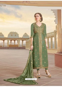 Mehendi Latest Heavy Designer Party Wear Straight Salwar Suit