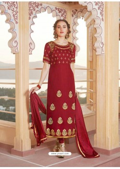 Maroon Latest Heavy Designer Party Wear Straight Salwar Suit