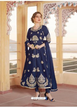 Dark Blue Latest Heavy Designer Party Wear Straight Salwar Suit