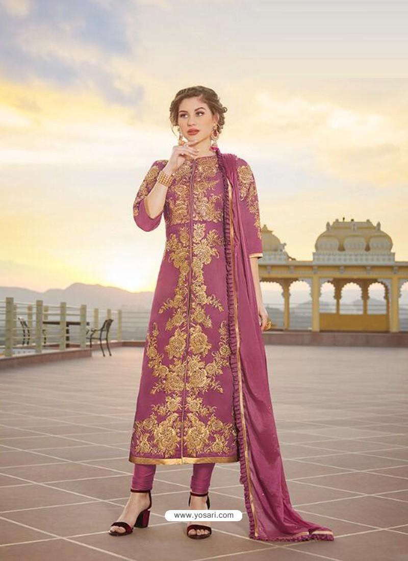 Deep Wine Latest Heavy Designer Party Wear Straight Salwar Suit