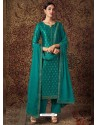 Teal Blue Designer Pure Jam Silk Palazzo Salwar Suit