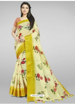 Light Yellow Fabulous Designer Casual Wear Linen Sari
