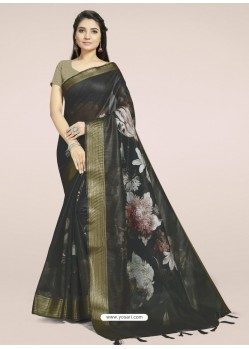 Black Fabulous Designer Casual Wear Linen Sari