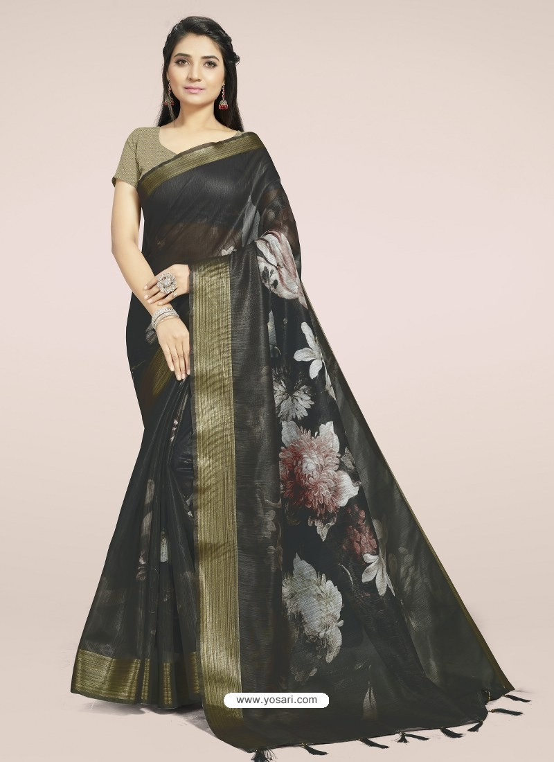Black Fabulous Designer Casual Wear Linen Sari