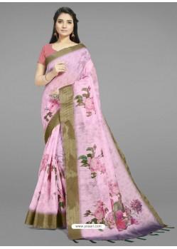 Pink Fabulous Designer Casual Wear Linen Sari