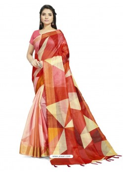 Multi Colour Fabulous Designer Casual Wear Linen Sari