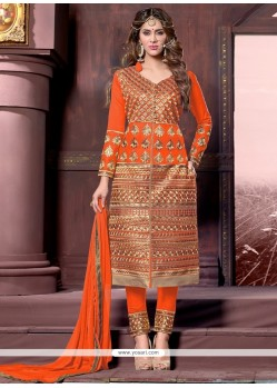 Ethnic Orange Cotton Designer Straight Salwar Suit