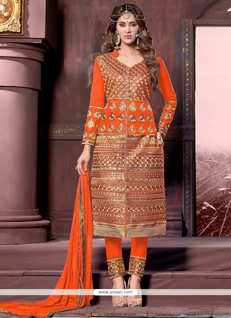 Ethnic Orange Cotton Designer Straight Salwar Suit