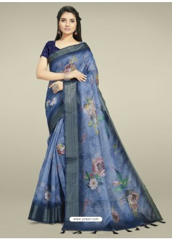 Blue Fabulous Designer Casual Wear Linen Sari