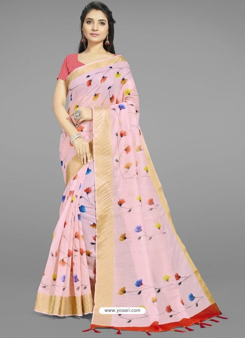 Baby Pink Fabulous Designer Casual Wear Linen Sari