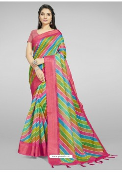 Multi Colour Fabulous Designer Casual Wear Linen Sari