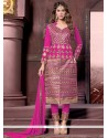 Fashionable Hot Pink Zari Work Designer Straight Salwar Suit