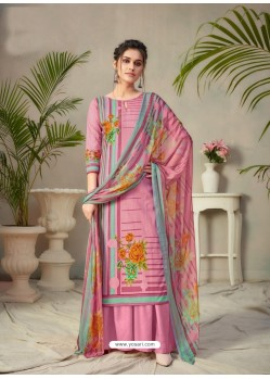 Pink Designer Pure Cambric Party Wear Palazzo Salwar Suit