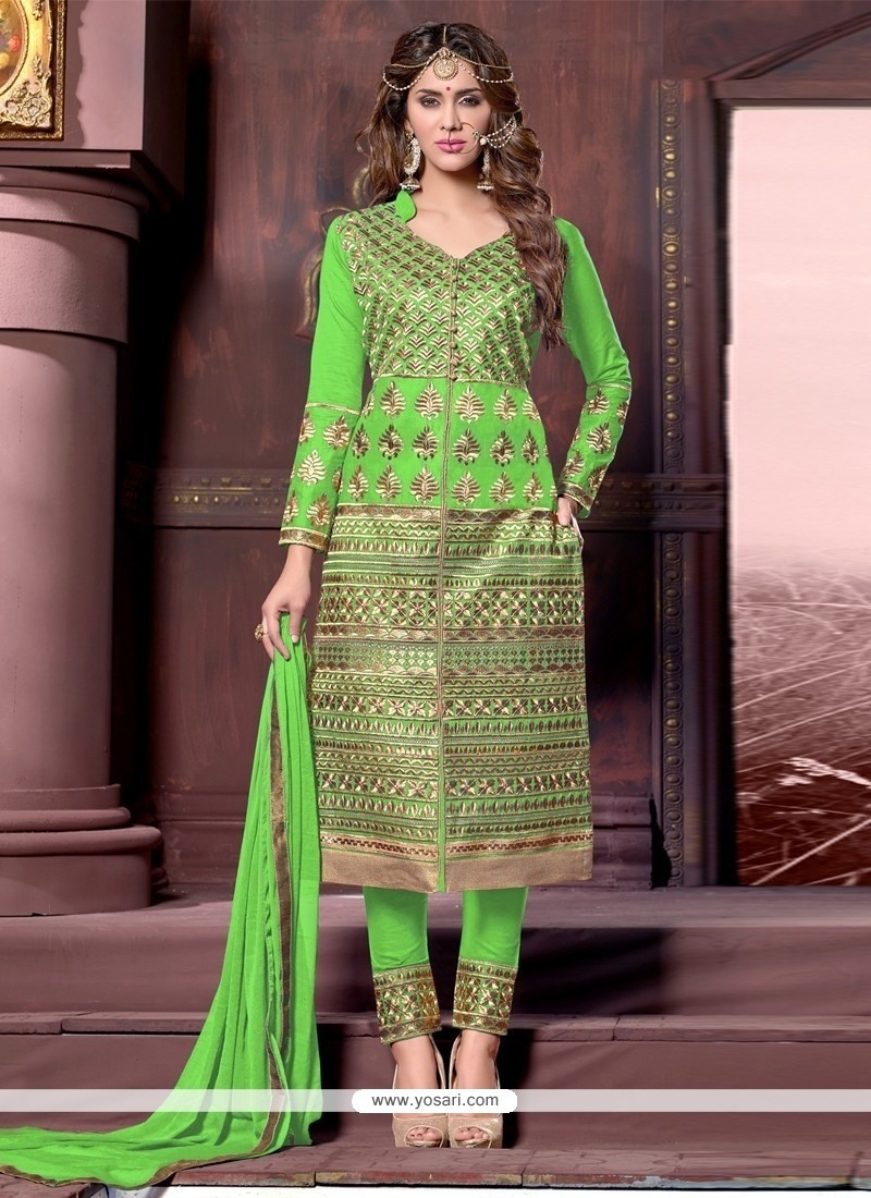 Girlish Cotton Sea Green Resham Work Designer Straight Salwar Kameez