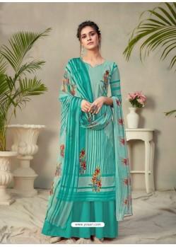 Aqua Mint Designer Pure Cambric Party Wear Palazzo Salwar Suit