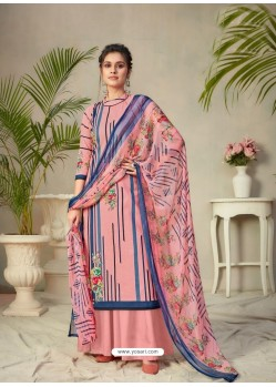 Peach Designer Pure Cambric Party Wear Palazzo Salwar Suit