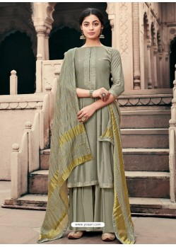 Grayish Green Designer Viscous Maslin Party Wear Palazzo Salwar Suit
