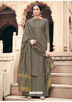 Taupe Designer Viscous Maslin Party Wear Palazzo Salwar Suit