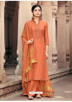 Orange Designer Viscous Maslin Party Wear Palazzo Salwar Suit
