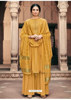 Mustard Designer Viscous Maslin Party Wear Palazzo Salwar Suit