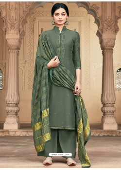 Mehendi Designer Viscous Maslin Party Wear Palazzo Salwar Suit