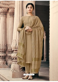Beige Designer Viscous Maslin Party Wear Palazzo Salwar Suit
