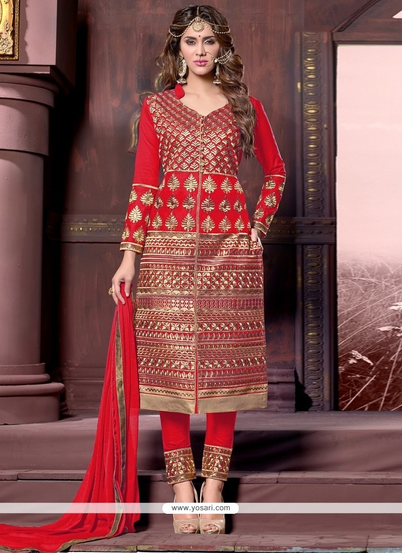 Phenomenal Cotton Red Designer Straight Salwar Kameez