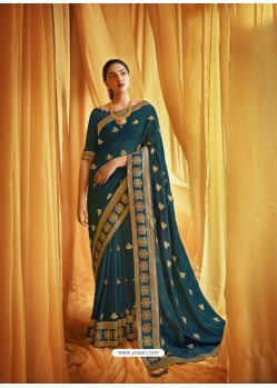 Teal Blue Stylist Party Wear Designer Vichitra Silk Sari