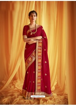 Red Stylist Party Wear Designer Vichitra Silk Sari