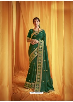 Dark Green Stylist Party Wear Designer Vichitra Silk Sari