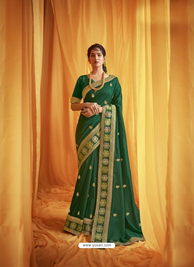 Dark Green Stylist Party Wear Designer Vichitra Silk Sari