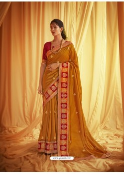 Mustard Stylist Party Wear Designer Vichitra Silk Sari