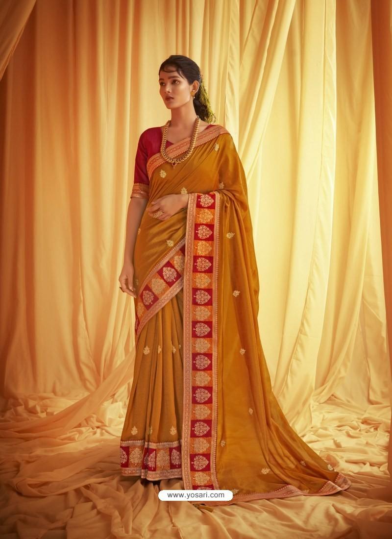 Mustard Stylist Party Wear Designer Vichitra Silk Sari