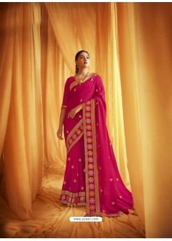 Rani Stylist Party Wear Designer Vichitra Silk Sari