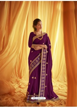 Purple Stylist Party Wear Designer Vichitra Silk Sari
