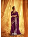 Purple Stylist Party Wear Designer Vichitra Silk Sari
