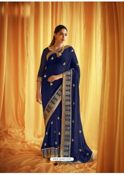 Dark Blue Stylist Party Wear Designer Vichitra Silk Sari