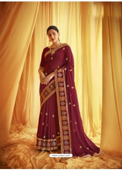 Maroon Stylist Party Wear Designer Vichitra Silk Sari